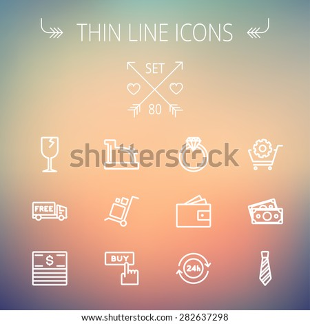 Business shopping thin line icon set for web and mobile. Set includes-broken glass wine, free delivery van, stack of money, vintage cash register, trolley, diamond ring, 24 hrs service, necktie icons - stock vector