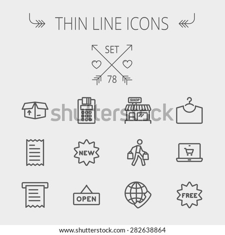 Business shopping thin line icon set for web and mobile. Set includes- electronic calculator, new tag, open sign, box, paper towel, shop, internet shopping, free tag icons. Modern minimalistic flat - stock vector