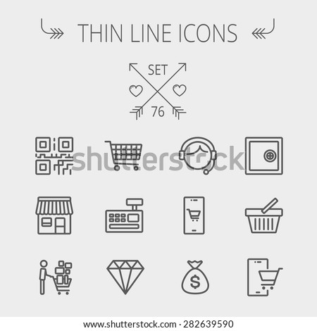 Business shopping thin line icon set for web and mobile. Set includes- shopping cart, cash register machine, customer service, QR code, store stall, safe, vault, shopping basket icons. Modern - stock vector