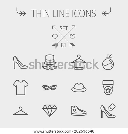 Business shopping thin line icon set for web and mobile. Set includes- vintage cap, cat eyeglasses, diamond, high heel, t-shirt, hanger, cap, rubber shoe, perfume, medal icons. Modern minimalistic - stock vector