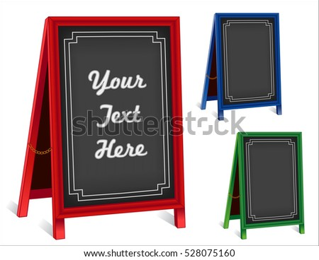 Business Signs, chalk board folding sidewalk easels with brass chains, red, green, blue frames, blackboard background with copy space. EPS8 compatible.