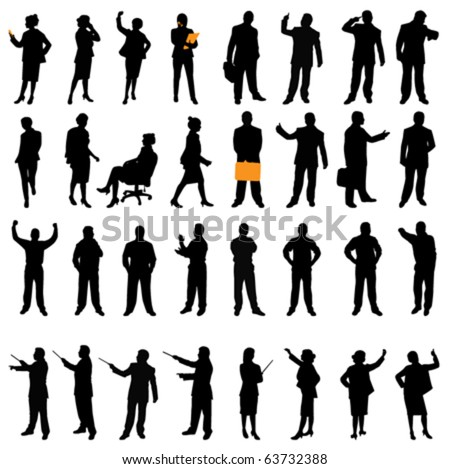 business silhouette set - stock vector