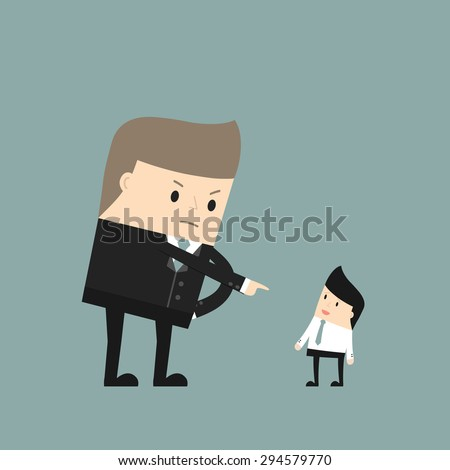 Business situation. Angry boss pointing at the employee. Vector illustration. - stock vector