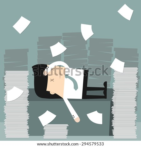 Business situation. Businessman in the office Businessman in office littered with a bunch of papers. Vector illustration.