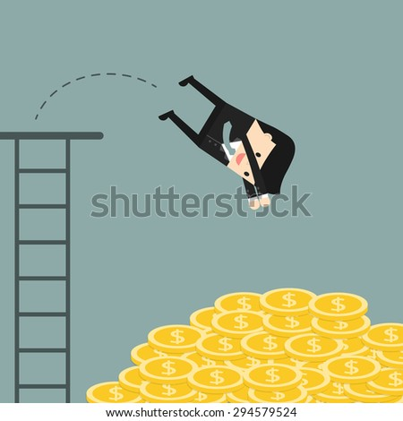 Business situation. Businessman jumping in a pile of coins. Symbol of wealth and big profits. Vector illustration. - stock vector