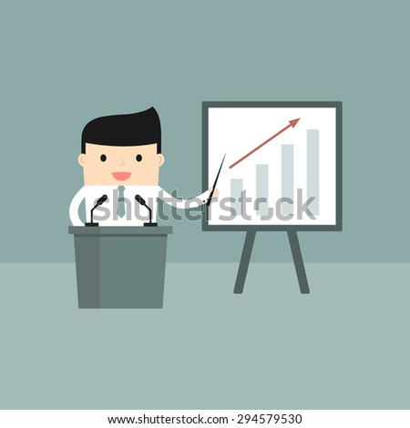 Business situation. Businessman presents a growth chart. Vector illustration.