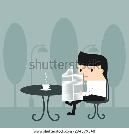 Business situation. Businessman reading a newspaper with a cup of coffee at an outdoor cafe. Vector illustration. - stock vector