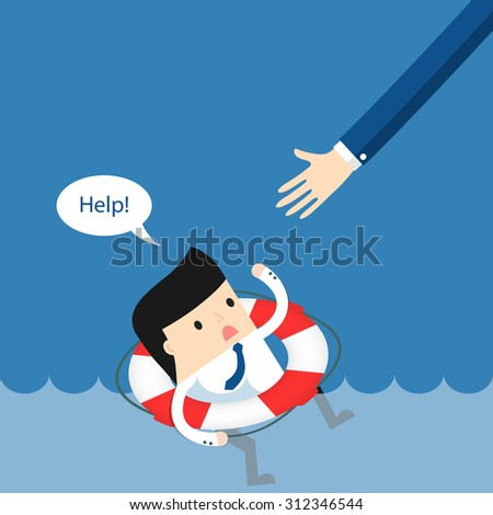 Business situation. Businessman sinking and asks for help. The concept of failure in business. Vector illustration.