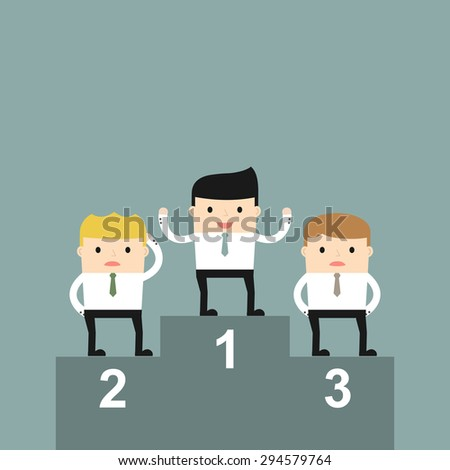 Business situation. Businessmen on a pedestal. Celebrating the victory. Vector illustration.