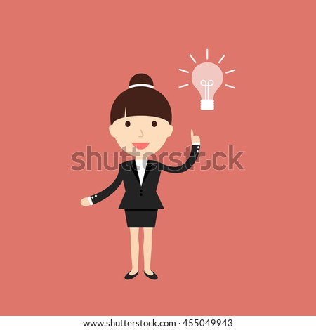 Business situation. Businesswoman get a new idea. Vector illustration.