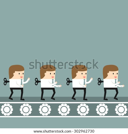 Business situation. Conveyor produces similar mechanical workers. Vector illustration. - stock vector