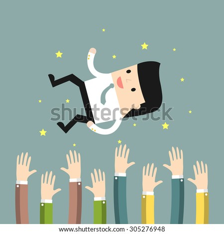 Business situation. People throw a businessman in the air. Concept of success. Vector illustration. - stock vector