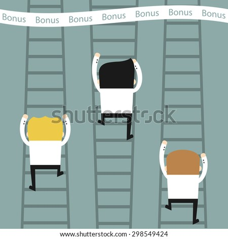 Business situation.The staff climb the stairs. The symbol of the desire for success and income. Vector illustration. - stock vector