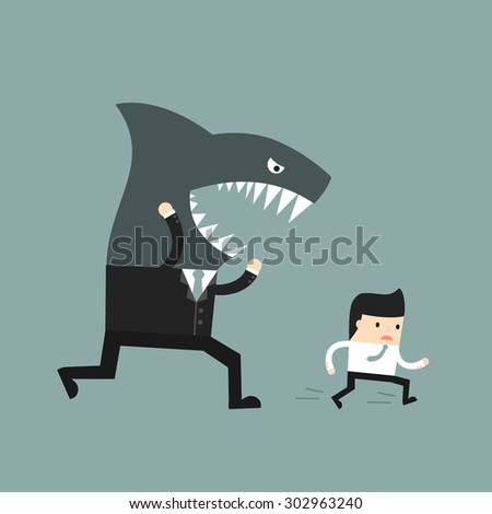 Business situation. The worker runs away from a screaming boss. Vector illustration. - stock vector
