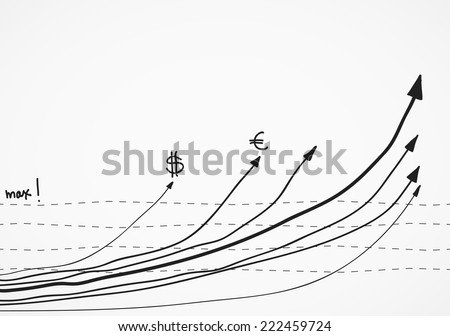 business sketch finance statistic infographic doodle hand drawn grahp - stock vector