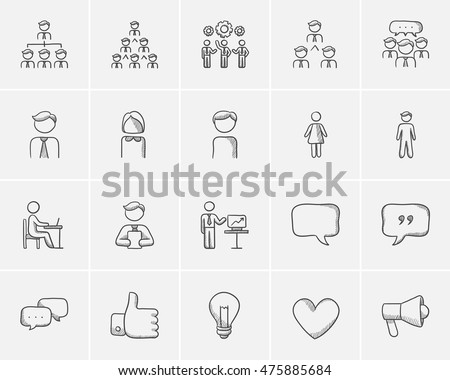 Business sketch icon set for web, mobile and infographics. Hand drawn business icon set. Business vector icon set. Business icon set isolated on white background.