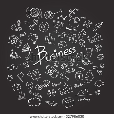 business sketch vector icon set on blackboard