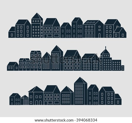 Business Skyscrapers poster design vector template. Line Art City Life Commercial Properties Linear outline real estate concept. Linear cityscape banner idea. - stock vector