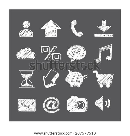 Business/smart phone icons. White drawing symbols on grey background. Vector illustration.