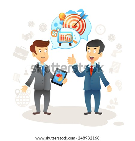Business social chat concept with two businessman and speech bubbles vector illustration - stock vector