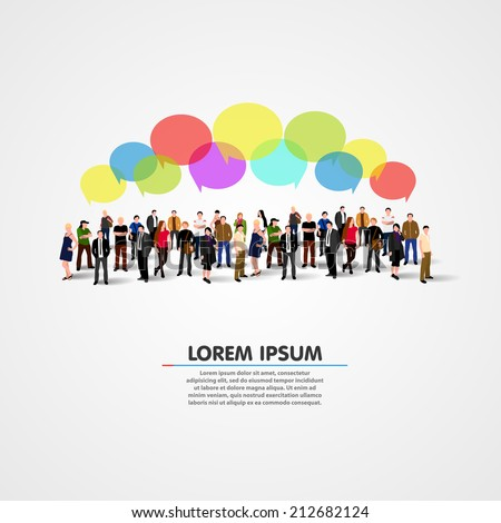 Business social networking and communication concept. Vector illustration - stock vector