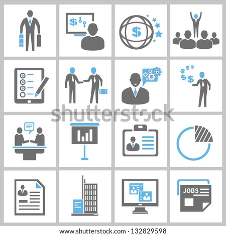 business solution and business management icons set, vector - stock vector