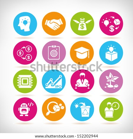 business solution icons, round button set - stock vector