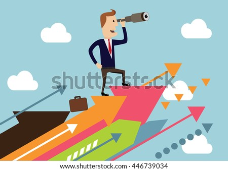 Business solutions. Businessman standing on the abstract arrows and looks into the distance.