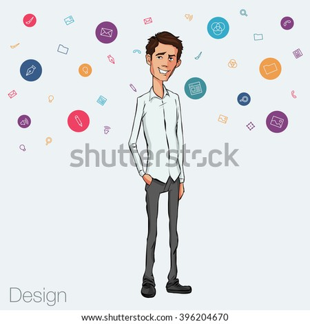 Business speech near the flip chart. Vector presentation of business product, project, report at the conference. Man in shirt tells the story. Storytelling and conference speaker for slide template - stock vector