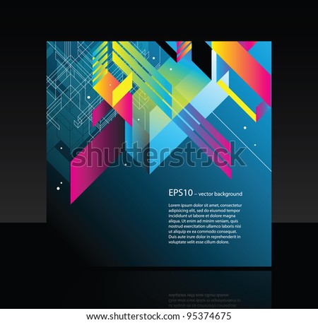 Business square banner with modern elements - stock vector