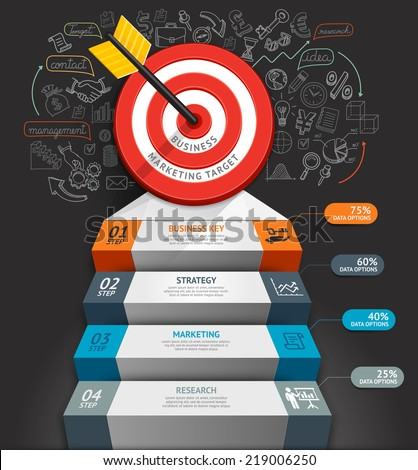 Business staircase conceptual infographics. Target with arrow and doodles icons. Can be used for workflow layout, banner, diagram, web design, infographic template. - stock vector