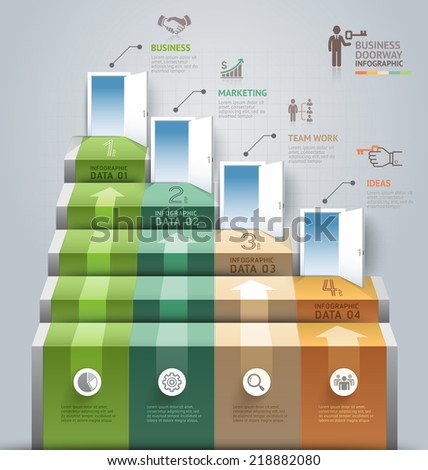 Business staircase doorway conceptual infographics. Vector illustration. Can be used for workflow layout, banner, number options, step up options, web design, diagram. - stock vector