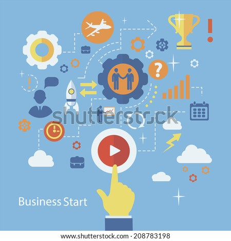Business start infographics template. Scheme with humans, icons and gears - stock vector