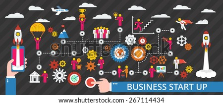 Business start up scheme. Vector illustration with humans, icons and gears. - stock vector
