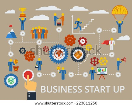 Business start up template. Vector scheme with humans, icons and gears. - stock vector