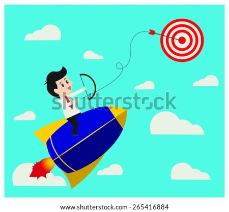 Business start up through arrow to aim. - stock vector