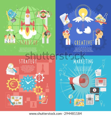 Business startup global strategy and creative marketing concept 4 flat icons composition poster abstract isolated vector illustration - stock vector