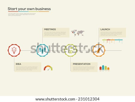 Business Startup Retro Timeline Infographic. Vector design template. - stock vector
