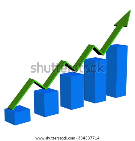 Business  statistic financial graphic. Green arrow. Vector isolated on white background - stock vector