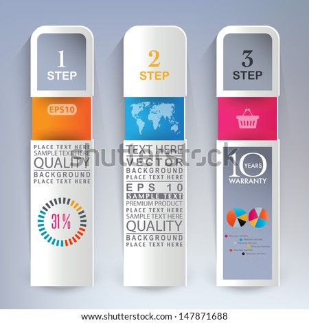Business step template - stock vector