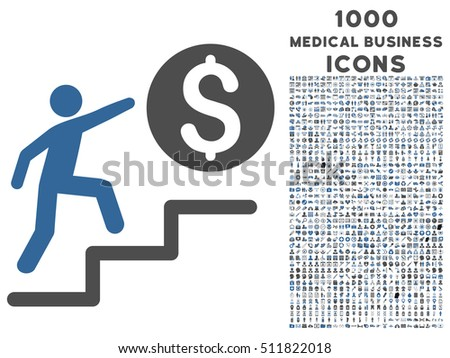 Business Steps vector bicolor icon with 1000 medical business icons. Set style is flat pictograms, cobalt and gray colors, white background.
