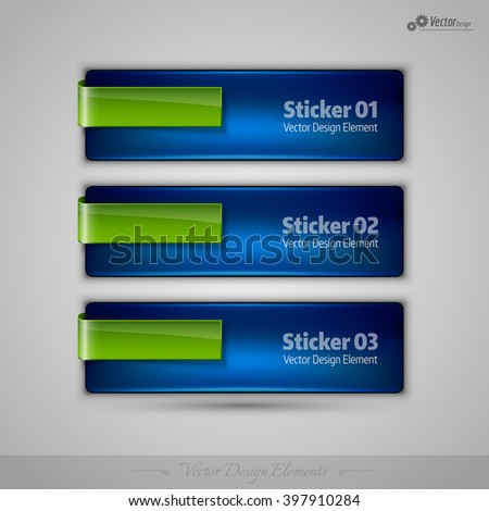 Business stickers on gray background for infographics, webdesigns, apps. Vector editable design elements. - stock vector