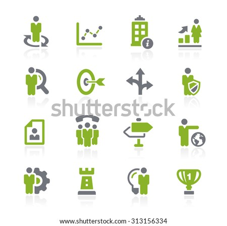Business Strategies Icons // Natura Series - stock vector