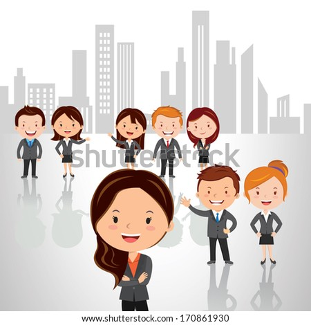 Business strategy and success team. Vector illustrations of a Group of successful people standing against high rise building background with confidence look. - stock vector
