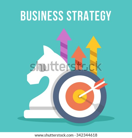 Business strategy. Chess knight, target, arrow, growth arrows icons set. Modern flat design concept for web banners, web sites, printed materials, infographics. Creative colorful vector illustration - stock vector