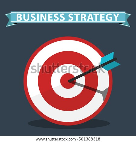 Business strategy concept. Flat design stylish Target.