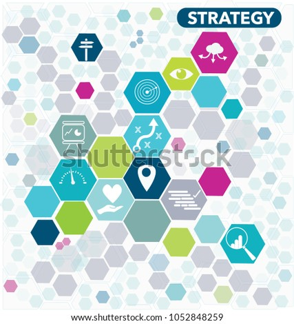 Business strategy diagram icons hexagonal shapes stock photo photo business strategy diagram with icons in hexagonal shapes and bright colours ccuart Gallery