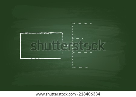 Business Strategy Flow Chart Rectangles Graphic On Green Board - stock vector