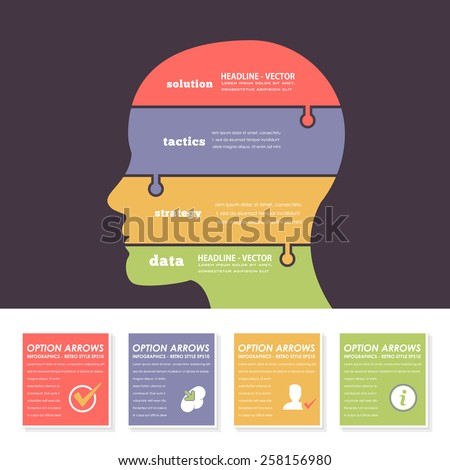 Business Strategy Human Head Infographics Puzzle Elements - stock vector