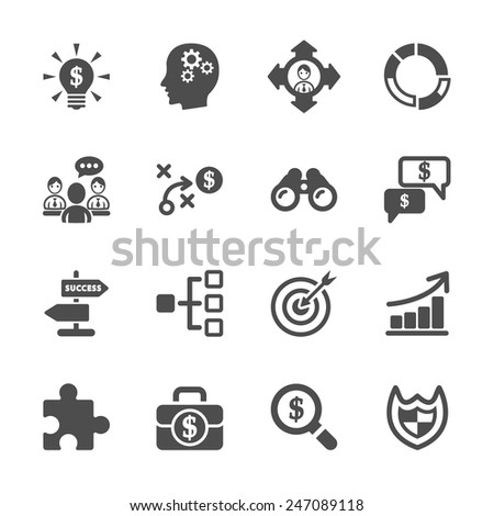 business strategy icon set, vector eps10. - stock vector